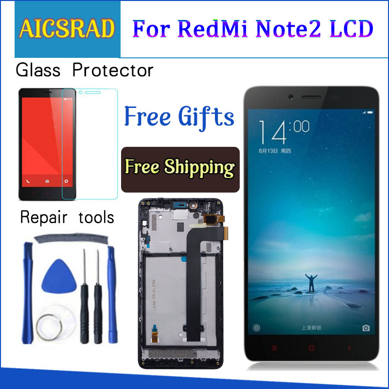 AAA Quality LCD For Xiaomi Redmi Note 2 LCD Display Screen Replacement For Hongmi Note 2 Digitizer Assembly Note2 With Frame 5.5