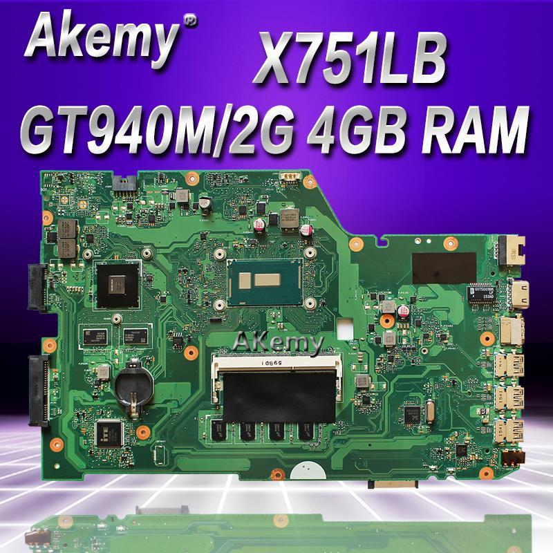 Akem X751LB GT940M/2 GB anakart ASUS X751L R752L K751L X751LN X751LD X751LJ X751LB DDR3 Laptop anakart 4 GB RAM I7-5500UAkem X751LB GT940M/2 GB anakart ASUS X751L R752L K751L X751LN X751LD X751LJ X751LB DDR3 Laptop anakart 4 GB RAM I7-5500U