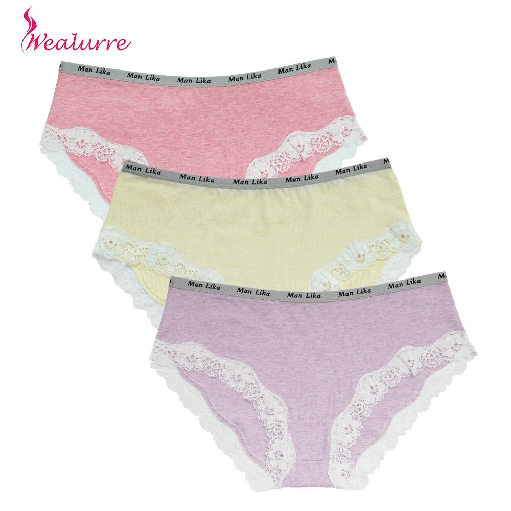 Buy Wealurre Hot Sexy Cotton Briefs Women Underwear Plus Size Lingerie Low Waist Lace Panties Solid Comfortable Underpants