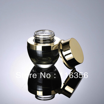 20G black glass cream jar,cosmetic container with golden cap