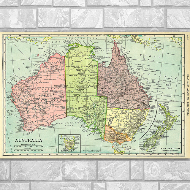 Australia Map Poster.Australia Map Wall Art Silk Poster Or Canvas Painting Geography