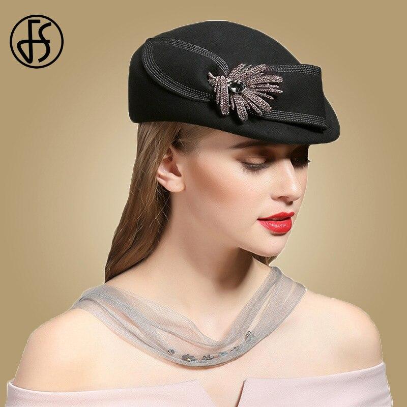 FS Black Wool Winter Hats For Women Beret With Rhinestone French Hat Berets Femme Hiver Felt Flowers Warm Caps Stewardess Cap