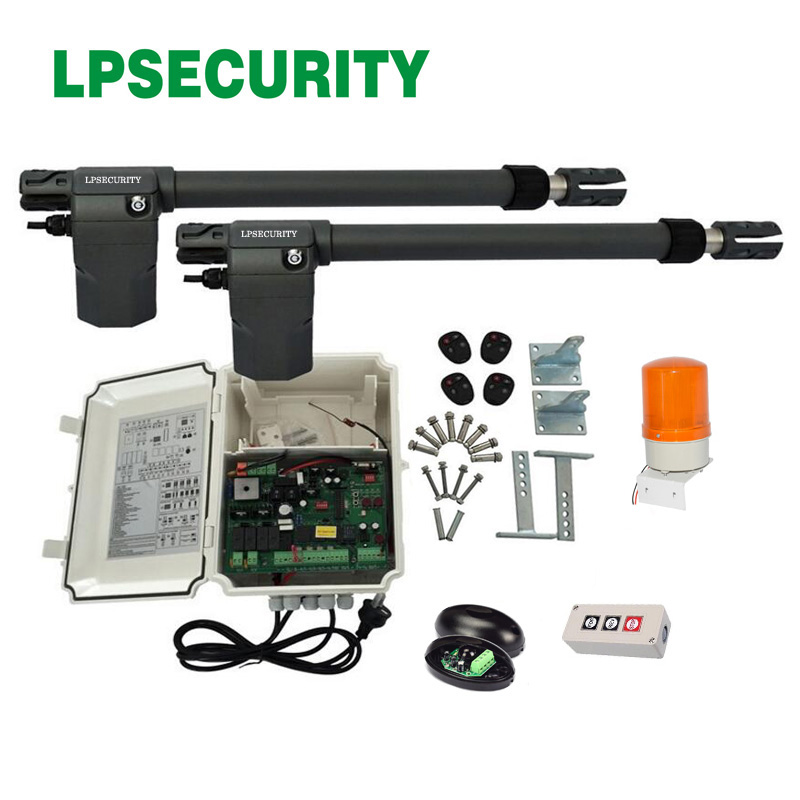 LPSECURITY 24VDC 400kg swing gate opener motor linear actuator(photocell, lamp, button, lock, gsm module optional) lpsecurity smart gsm module gate door