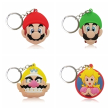 Hot Sell 50PCS PVC Cartoon Figure Super Mario Bro Key Chain Mini Anime Ring Kids Toy Pendant Keychain Holder Party Gift