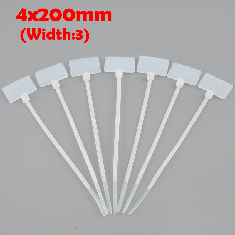 200pcs 4*200 4x200 (3mm Width) Nylon66 Self-Locking Ethernet RJ45 Network Wire Power Brand Mark Label Identified Tag Cable Tie