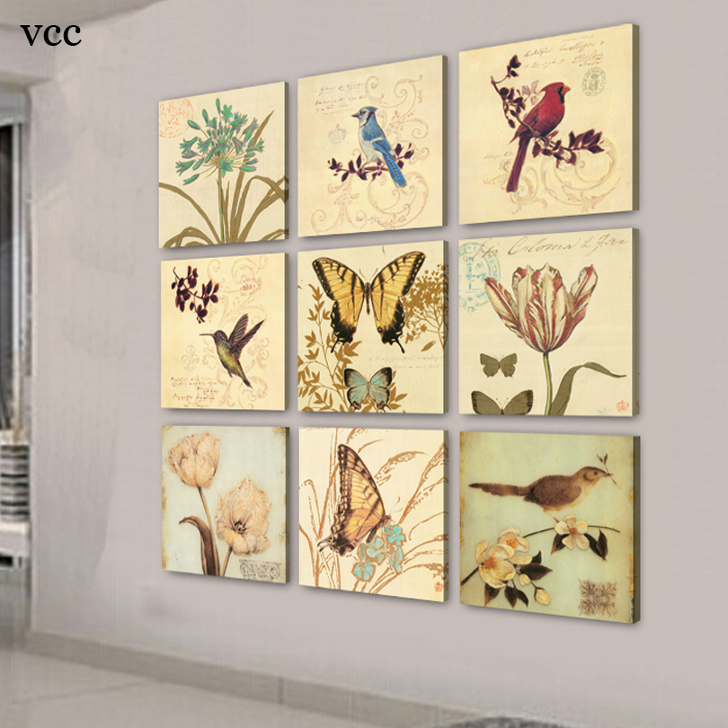 9 Piece Canvas Art Birds Flowers Picture,Paintings On The Wall,Wall ...