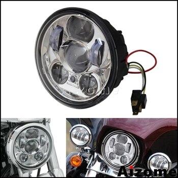 "Chrome Motorcycle LED Headlight 5 3/4"" Projector Headlight Headlamp For Harley Sportster Dyna Softail XL 1200 883 FXD FXS FXR"