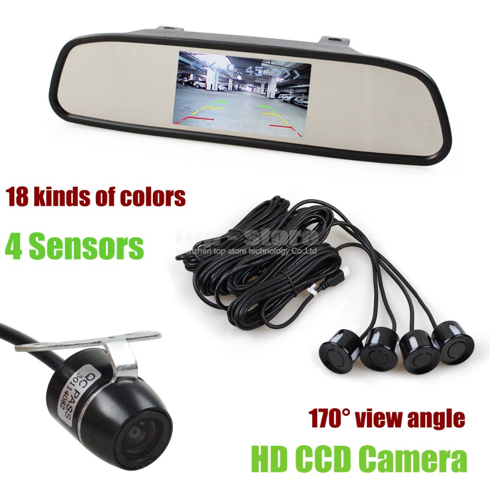 DIYKIT  Video Parking Radar 4 Sensors 4.3 Inch Car Mirror Monitor + HD Ccd Rear View Car Camera Parking Assistance System Kit diykit 9 inch tft lcd display rear view car mirror monitor with 2 video input for parkign system car ccd camera cam dvd