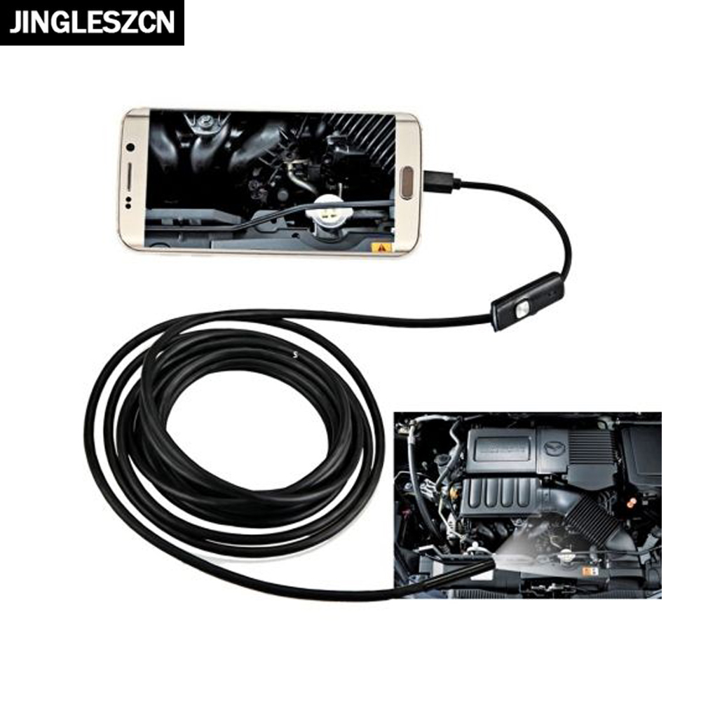 JINGLESZCN USB Endoscope Cam 8MM Waterproof IP67 Inspection Borescope Snake Camera For Android Phone 1/1.5M 2M 3.5M 5M Hard Tube 7mm lens mini usb android endoscope camera waterproof snake tube 2m inspection micro usb borescope android phone endoskop camera