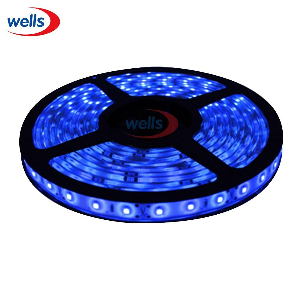 24V Car 5M Flexible Water House Proof 3528 SMD 300 LED Strip Light 500cm Blue
