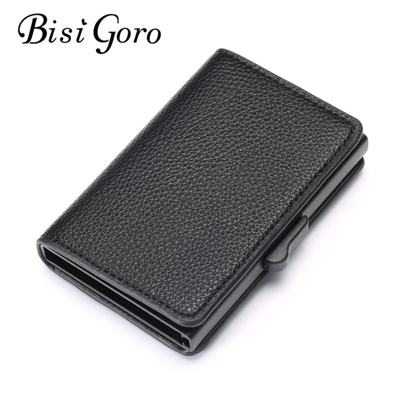 BISI GORO 2019 RFID Blocking Card Wallet New Business Card Holder  Aluminum Box Fashion Soft Leather Slim Card Case Dropshipping