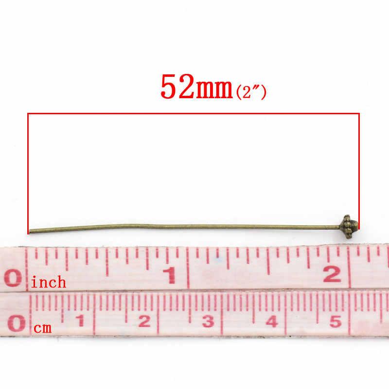 "Logam Seng Alloy Bola Kepala Pin Perunggu Antik 5.2 Cm (2 "") Panjang 0.7 Mm (Gauge), 4 Pcs"