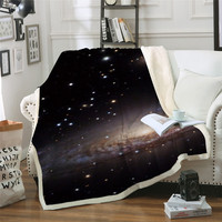Popular Amazing Galaxy Sherpa Blanket Universe Print Plush Throw Beds Blanket Sofa Cover Thin Quilt mantas para cama