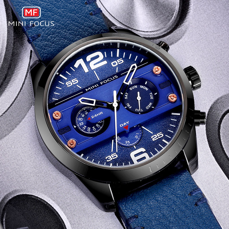 MINI FOCUS Men 39 s Army Sports Quartz Watches Leather Strap Waterproof Wristwatch Man Week Date Relogios Masculino Clock 0068 Blue in Quartz Watches from Watches