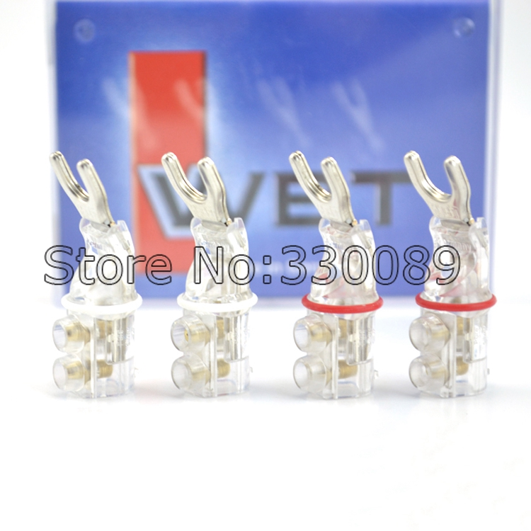 Free shipping 4pcs WBT-0681AG nextgen signature Y spade connector plug with copper silver plated