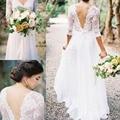 New White Lace Chiffon 2016 Bohemian vestidos de casamento V Cap Neck Sleeve noiva Boho vestido de noiva