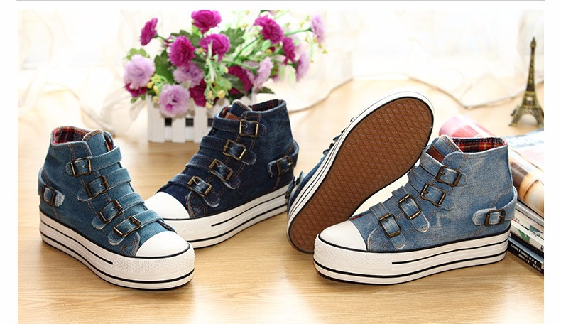 High Top Women Denim Shoes Espadrilles 2016 Fashion Autumn Hide Wedges Canvas Womens Shoes Lace Up Casual Shoes Sapatilha YD135 (26)