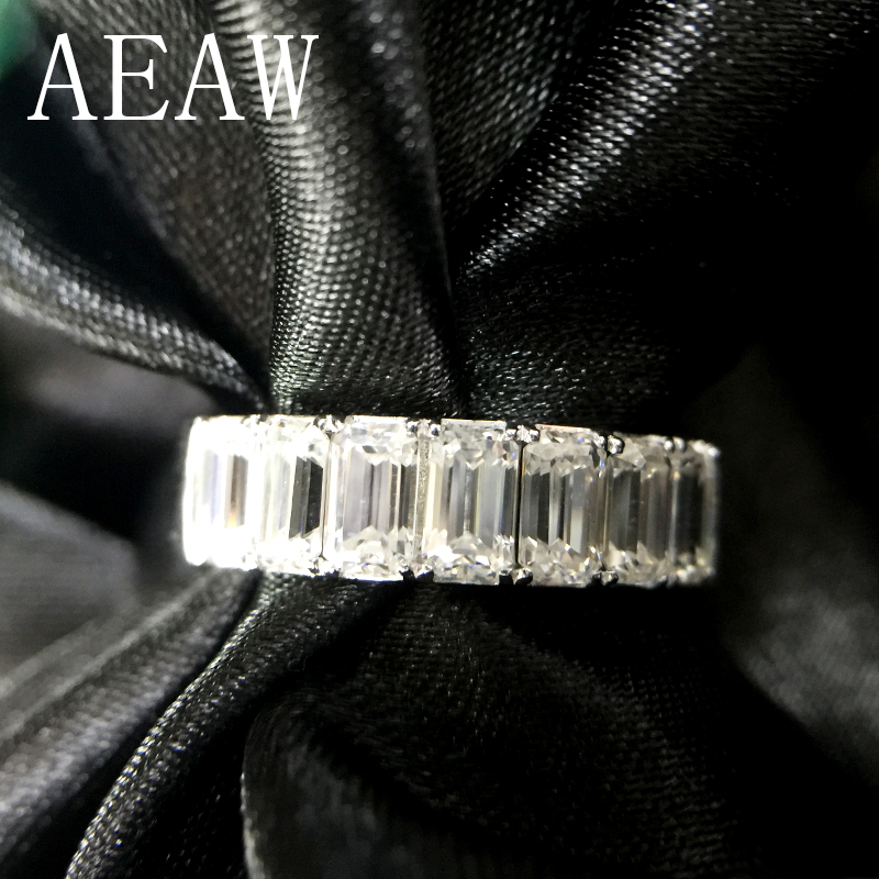 AEAW Solid 14K 585 White Gold Emerald 2Ctw F Color Engagement Band Ring Wedding Moissanite Half Eternity Diamond Band For Women transgems 1 6 ctw carat lab grown moissanite diamond eternity band solid 14k yellow and white gold engagement anniversary ring