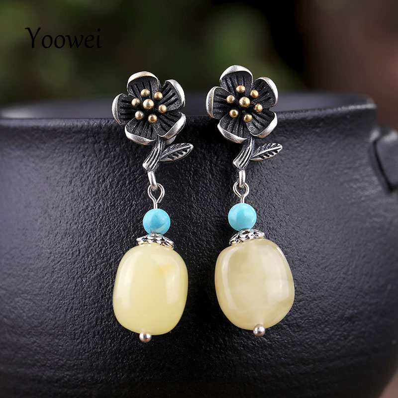 Yoowei Retro S925 Sterling Silver Jewelry Vintage Flower Danling Earring Turquoise Stone Baltic Natural Amber Earrings WholesaleYoowei Retro S925 Sterling Silver Jewelry Vintage Flower Danling Earring Turquoise Stone Baltic Natural Amber Earrings Wholesale