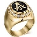 Size 7-15 Gold Plated Black Tone Stainless Steel Freemason Cubic Zircon Masonic Freemason Signet Ring for Knight Templar