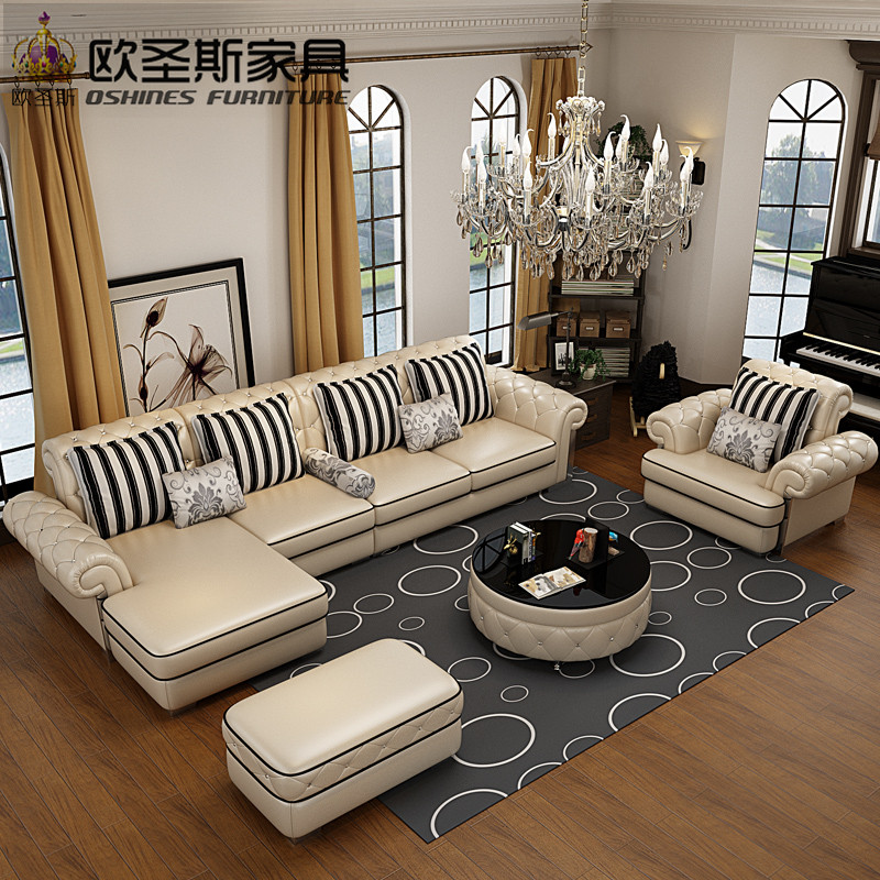 OSHINES FURNITURE factory wholesale royal furniture italian genuine corner leather sofa set 112L morden sofa leather corner sofa livingroom furniture corner sofa factory export wholesale c59