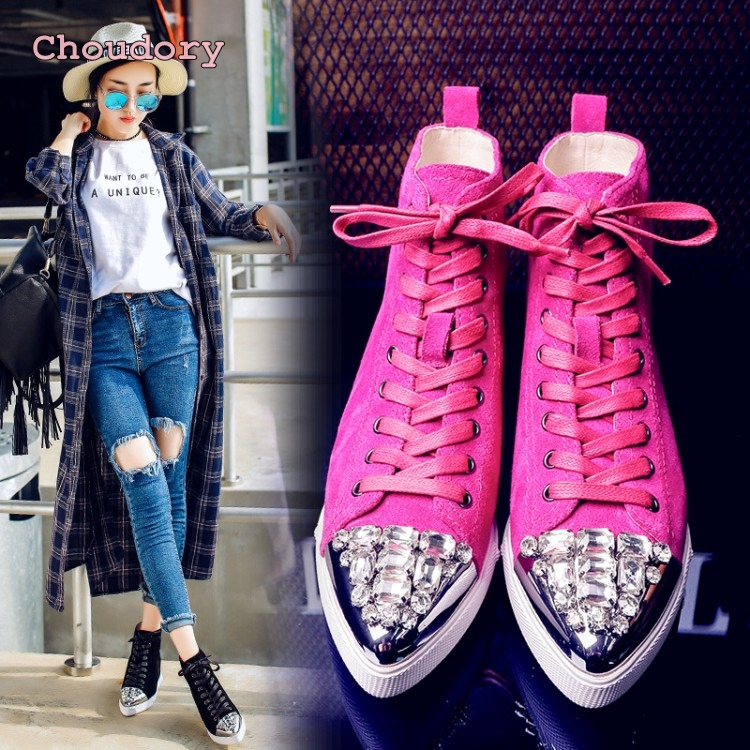 lace up flat boots British style pointed water diamond shoes pink black leather shoes woman flats Sequins young girls boots карабин black diamond black diamond rocklock twistlock