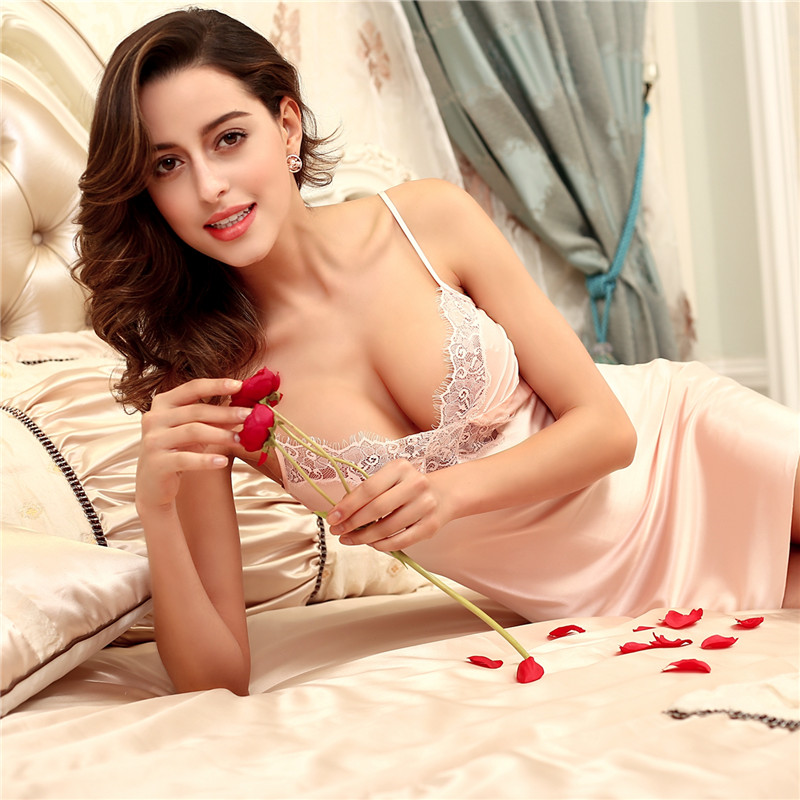 Sexy Women Nightwear Mini Nightgowns Tempatation Deep V -9050