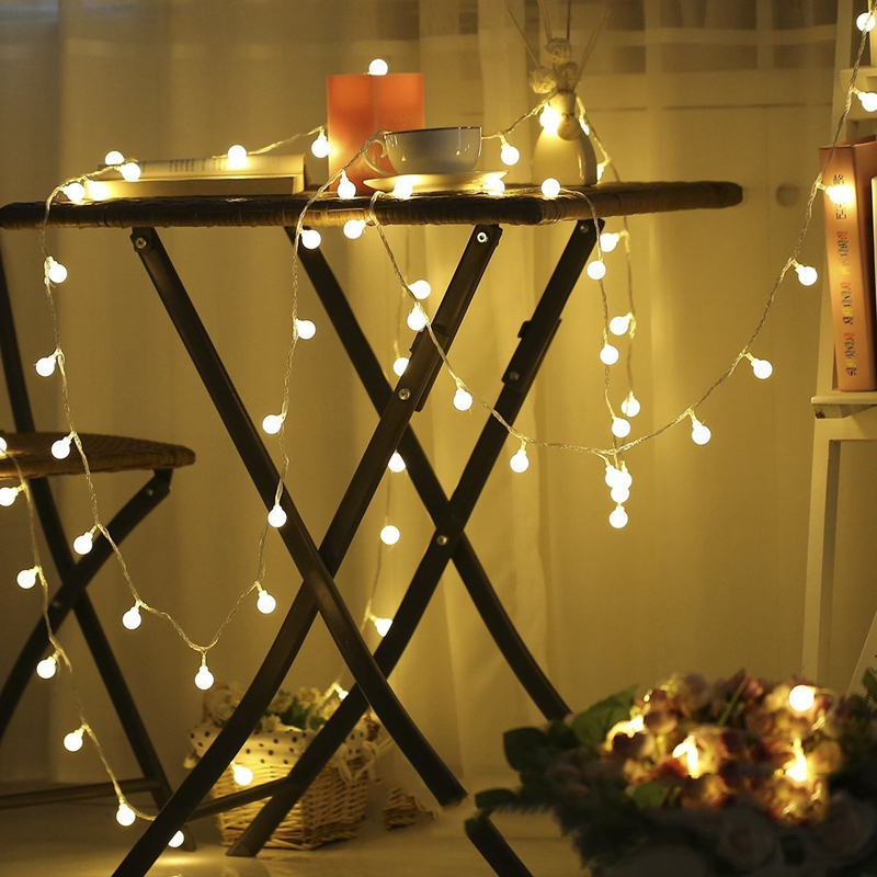 Small Outdoor Christmas Trees With Lights: USB Small White Ball Garland Light String For Christmas