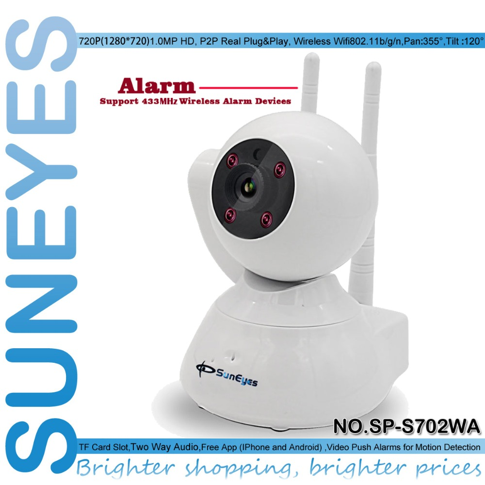 SunEyes SP-S702WA 720P HD Alarm P2P IP Camera Wireless Two Way Audio Support 433HZ Alarm Devices One Key Setup Wifi and Alarms hd 720p support alarm accessory wireless ip camera