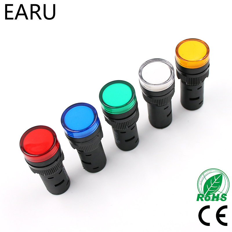 1pcs 16mm Panel Mount Signal Power  Led Indicator Light Blue Green Red White Yellow Pilot Lamp AC DC 12V 24V 220V AD16-16C