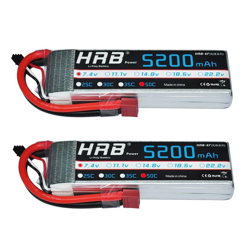 2pcs HRB RC Battery 7 4V 5200MAH 50C 100C 2S Lipo Battery Batteria RC Car Boat