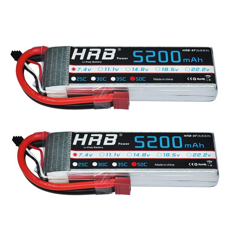 Oyuncaklar ve Hobi Ürünleri'ten Parçalar ve Aksesuarlar'de 2 adet HRB RC Pil 7.4V 5200MAH 50C 100C 2S Lipo Pil Batteria RC Araba Tekne Uçak quadcopter Pil'da  Grup 1