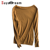 Women Wool Pullovers 100 Wool Slash Neck Knitted Sweaters Top Tunic Jumper Pull Femme 2017 FALL
