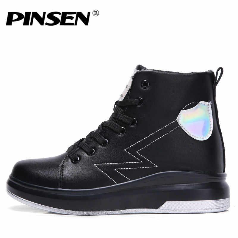 PINSEN 2019 Kış Kadın Çizmeler Yüksek Kaliteli Deri Artış Yükseltmek Su Geçirmez Kar Botları rahat ayakkabılar yarım çizmeler Kadınlar için
