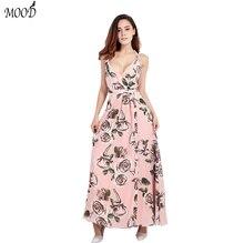 2016 Summer Floral Print Women Dress Bohemian Beach Women Dress Backless Spaghetti Strap Dress Women Size From XS TO XXL