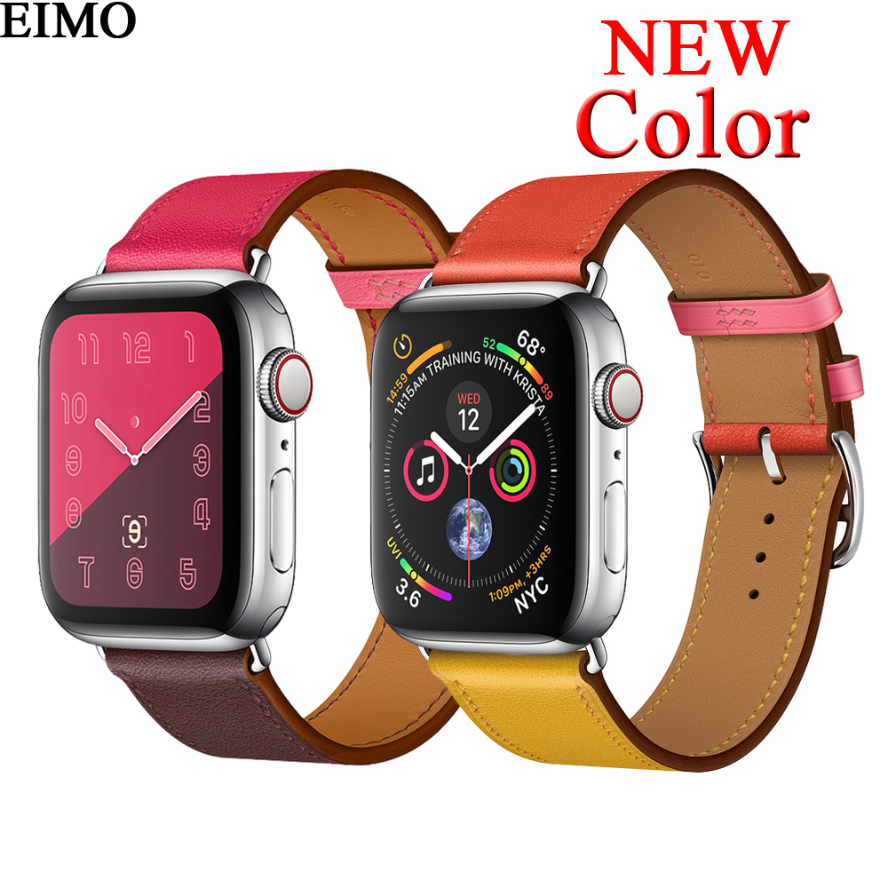 EIMO Strap for apple watch band 42mm 44 mm iwatch series 4 3 2 1 38mm 40mm Genuine  Leather Single tour bracelet Wrist Watchband 193382b374e