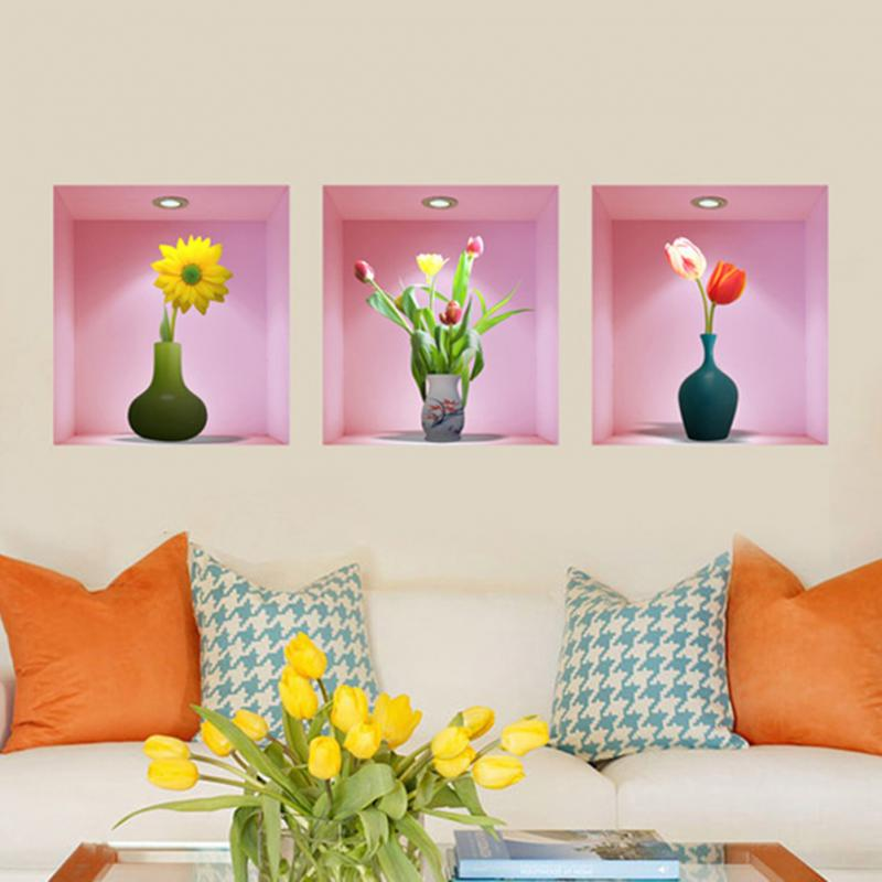 3pcs Removable 3D Flower Vase Wall Sticker Home Decal Living Room ...