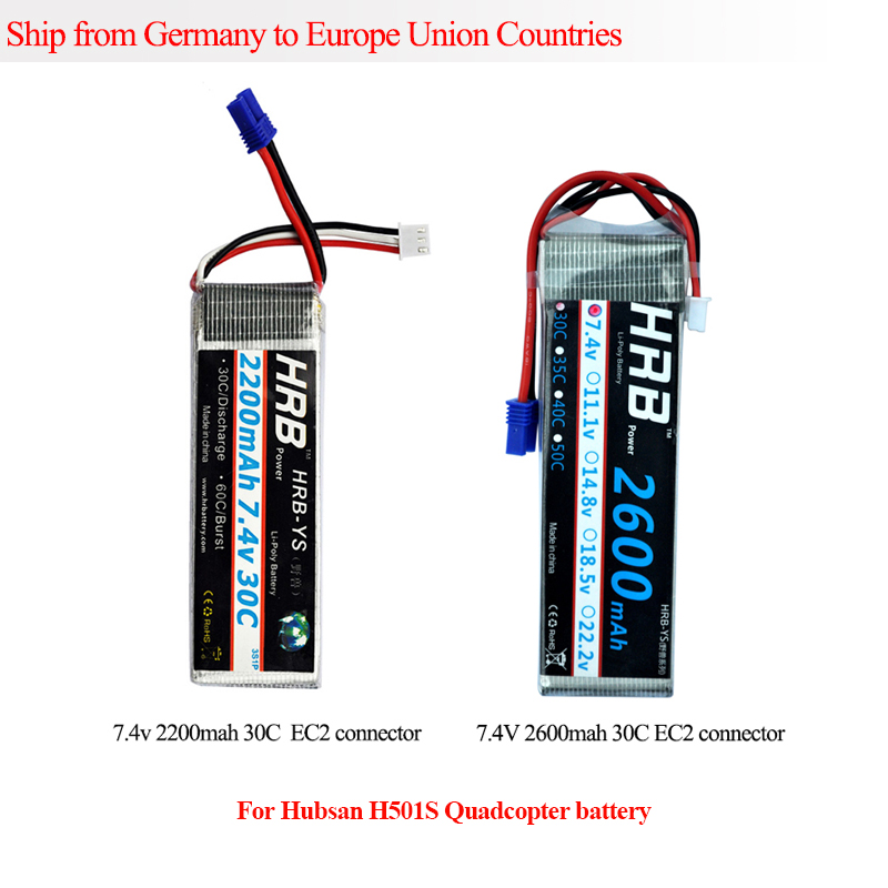 HRB Lipo 2s Battery 7.4V 2200mah 2600mah 30C Max 60C EC2 plug for Hubsan H501S RC Helicopter Transmitter Airplane UAV Car lipo battery 7 4v 2700mah 10c 5pcs batteies with cable for charger hubsan h501s h501c x4 rc quadcopter airplane drone spare