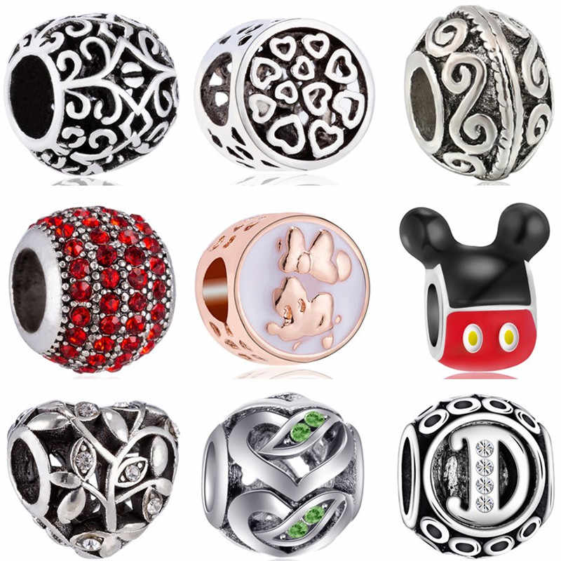 Simple Style Hollow Statement Bear Paw Owl Stars Mickey Mouse Beads Fit Pandora Charms Bracelets for Women DIY Bangles Trinket
