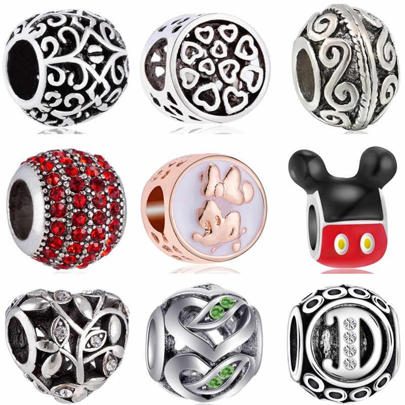 Estilo simples Oco Declaração Da Pata de Urso Coruja Estrelas Mickey Mouse Beads Fit Pandora Encantos Pulseiras para Mulheres DIY Pulseiras Bugiganga