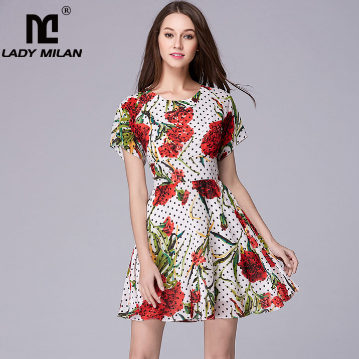 Lady Milan Women s Runway Dresses O Neck Sleeveless Floral Printed Ruffles Fashion High Street Casual