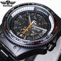 Winner New Number Sport Design Bezel Black Watch Mens Watches Top Brand Luxury Montre Homme Clock