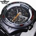 Vencedor Novo Número Projeto Do Esporte Montre Homme Bezel Black Watch Mens Relógios Top Marca de Luxo Relógio Homens Relógio Esqueleto Automática