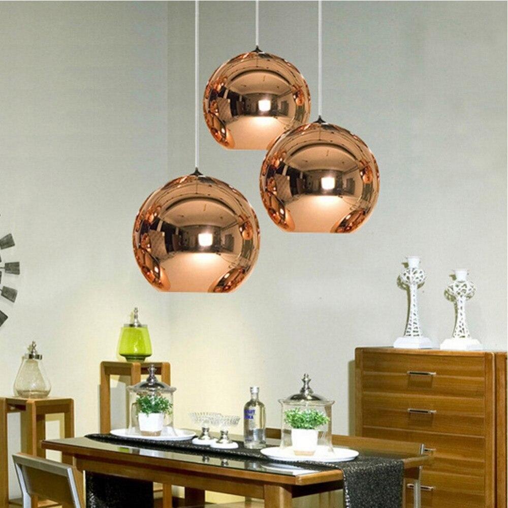 North Europe Modern Copper Sliver Shade Mirror Hanging Pendant Lights E27 Bulb LED Pendant Lamp Glass Ball Lighting