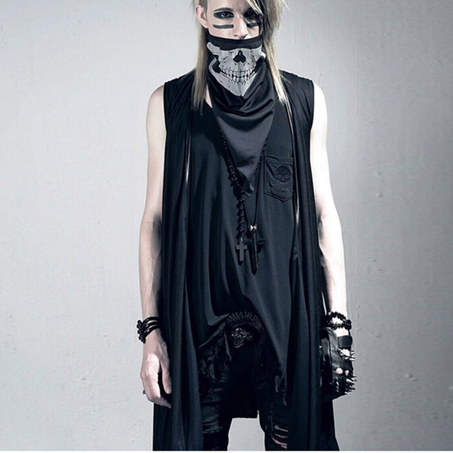 Men Summer Shawl Vest Men Punk Rock Style Cardigan Waistcoat Nightclub Clothing Men Fashion Long Loose Vest K356