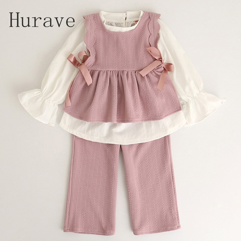 Hurave 2017 New Autumn Style Kids Clothing Sets Long Sleeve white T-shirt+ Vest Printing Pants 3Pcs for Girls Suits hurave 2017 baby girls autumn kids clothing sets v neck knitted long sleeve sweater colorful dress children sets suits c9l4