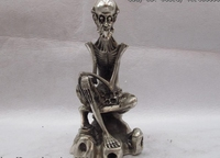 Chinese Folk Classic White Copper Bronze Silver Skull Human bones people Statue