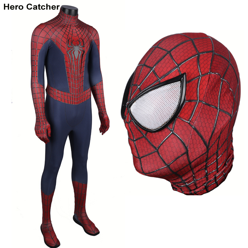 Hero Catcher High Quality 3D Cobwebs <font><b>Amazing</b></font> Spiderman Costume With Relief <font><b>Spider</b></font> Newest Spiderman Spandex Suit <font><b>Man</b></font> For Party