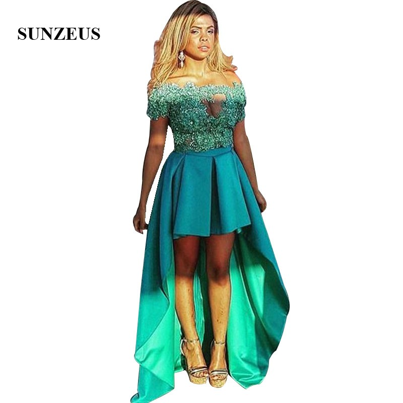 Short Front Long Back   Prom     Dresses   High Low Satin Party Gowns Illusion Neck Appliques Green Formal Women   Dress