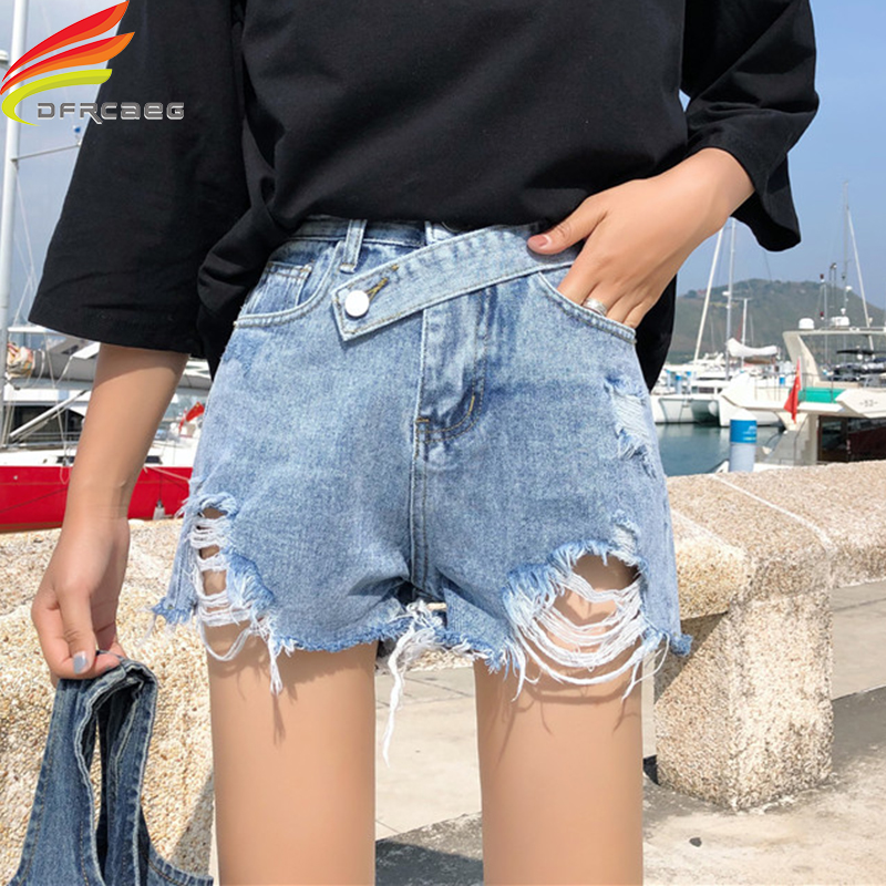Summer Women   Shorts   Streetwear Denim   Shorts   2019 New Arrivals Blue And Sky Blue Denim   Short   Hole Cool Lady Jean   Short